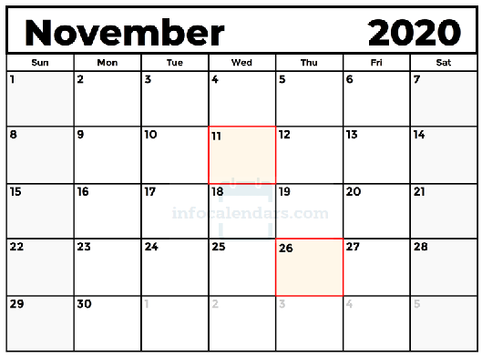 November 2020 Calendar Excel With Holidays