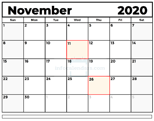 November 2020 Calendar PDF With holidays