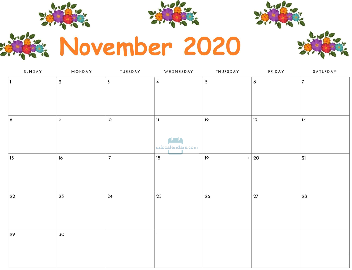 November Calendar 2020 With Holidays
