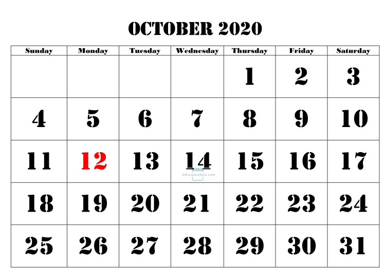 October 2020 Calendar Download