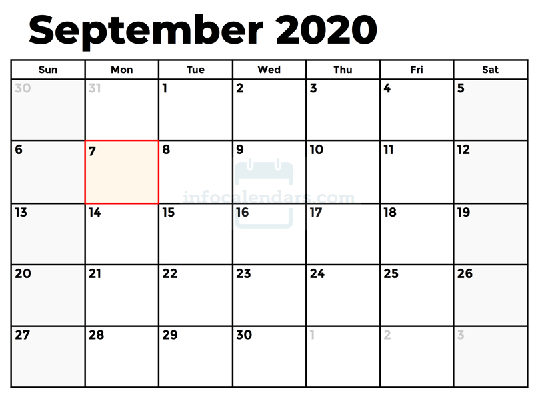 September 2020 Calendar Template With Holidays