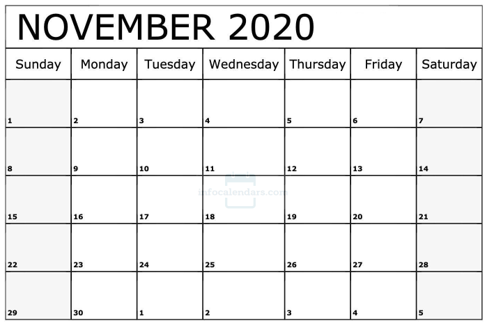 US November 2020 Calendar With Holidays