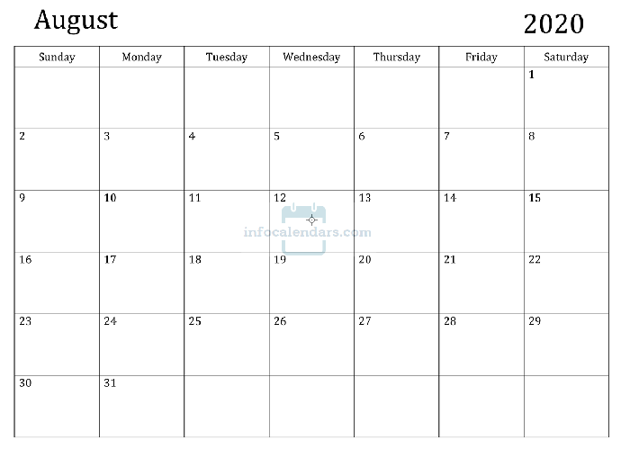Wallpaper August 2020 Calendar Printable