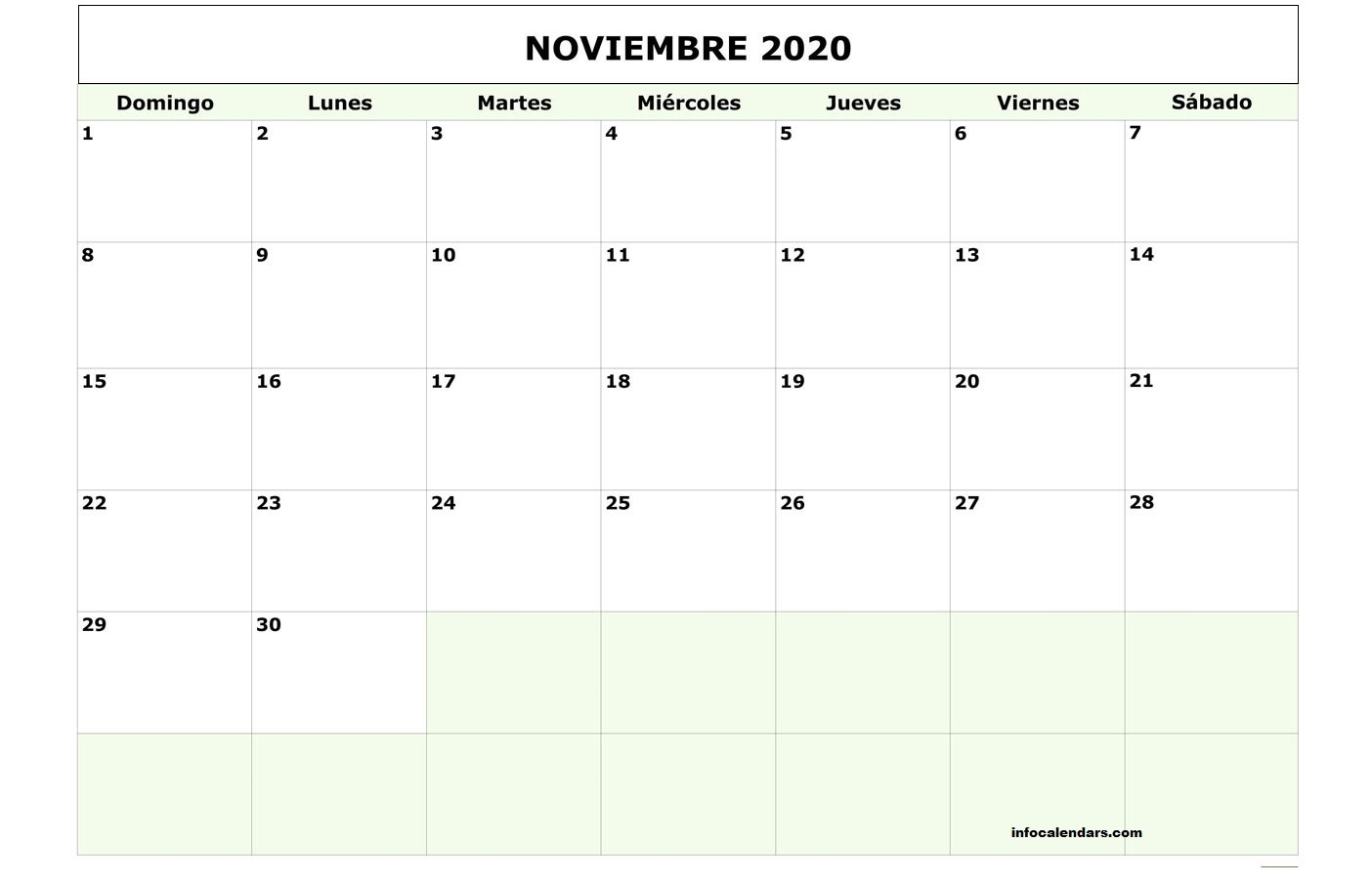 Calendario Noviembre 2020 Chile Imprimible