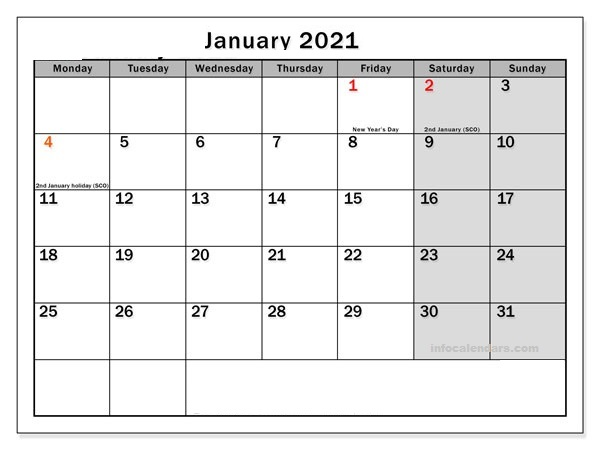2021 January Calendar With Holidays