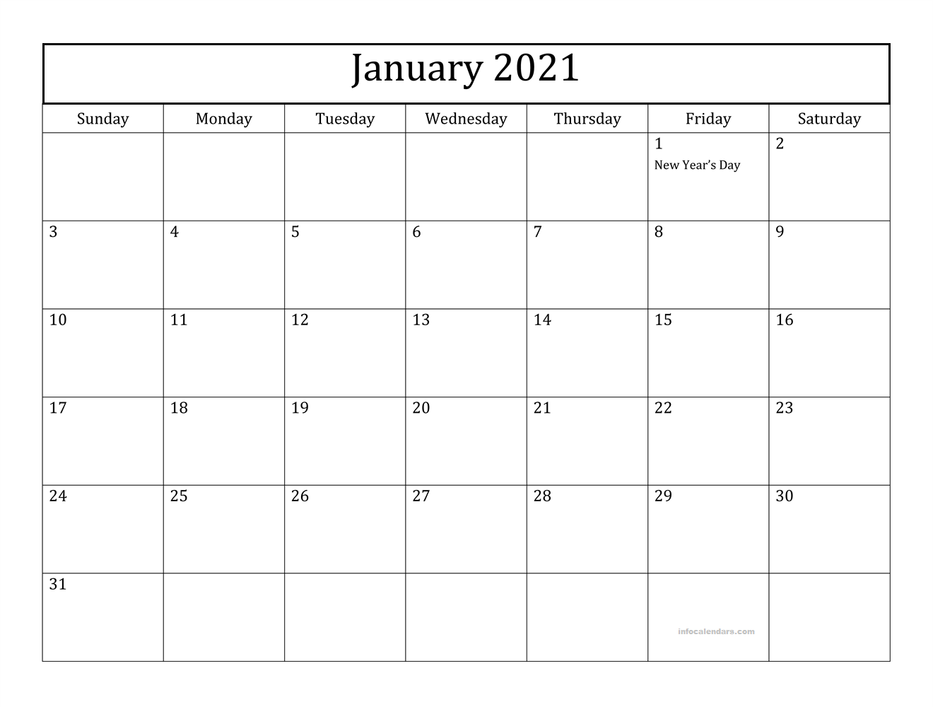 Calendar January 2021 With Holidays