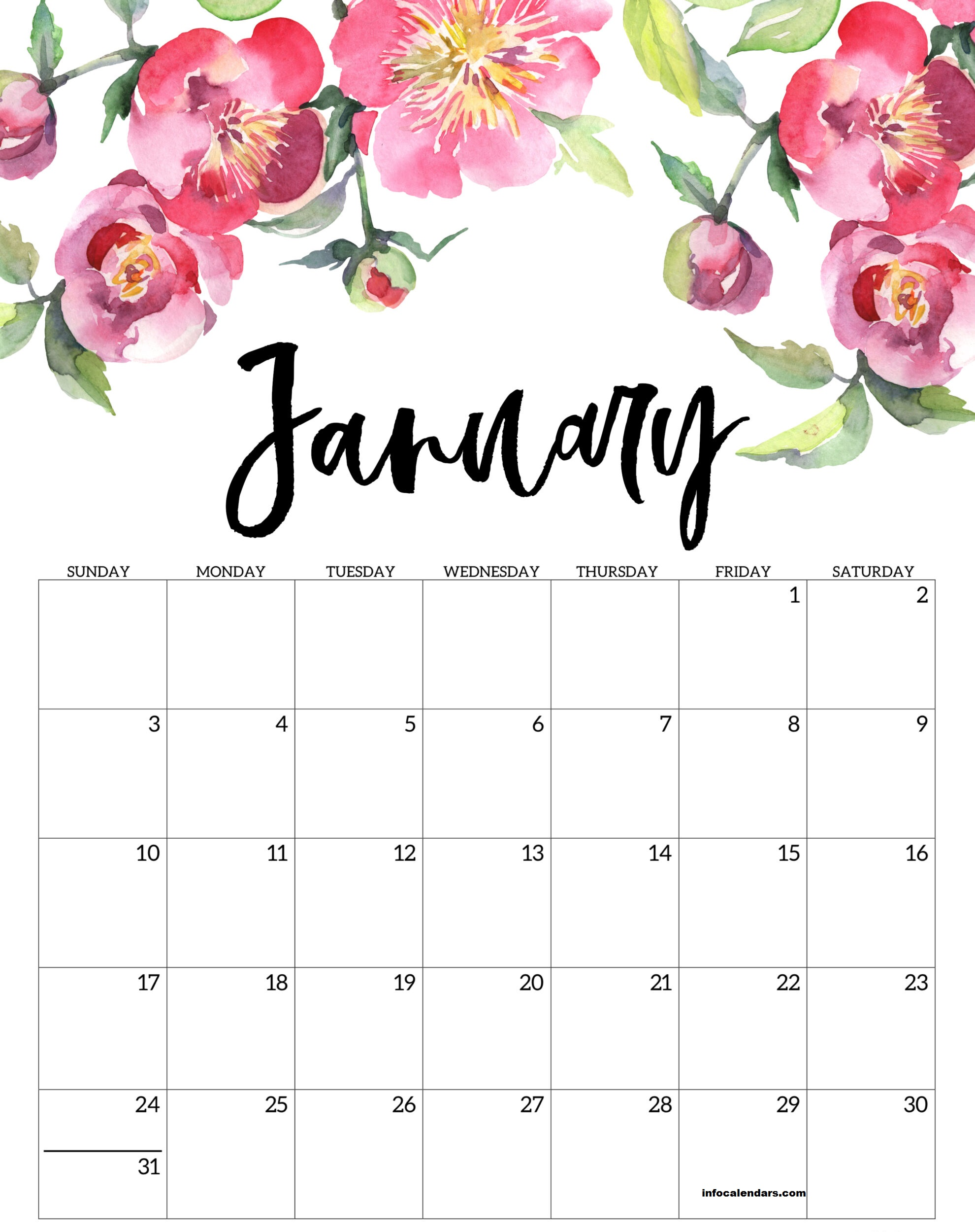 Cute Printable January 2021 Calendar