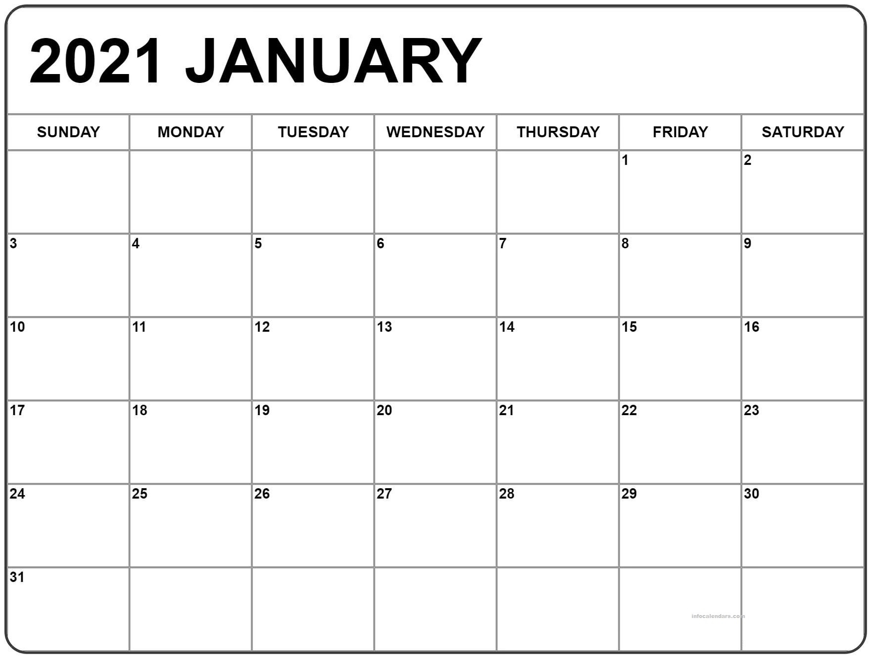 Holiday January 2021 Calendar