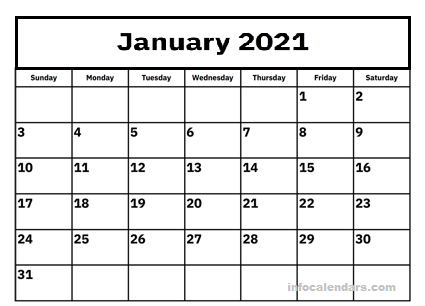 January 2021 Calendar Holiday