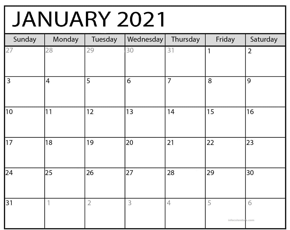 January 2021 Calendar Template Daily