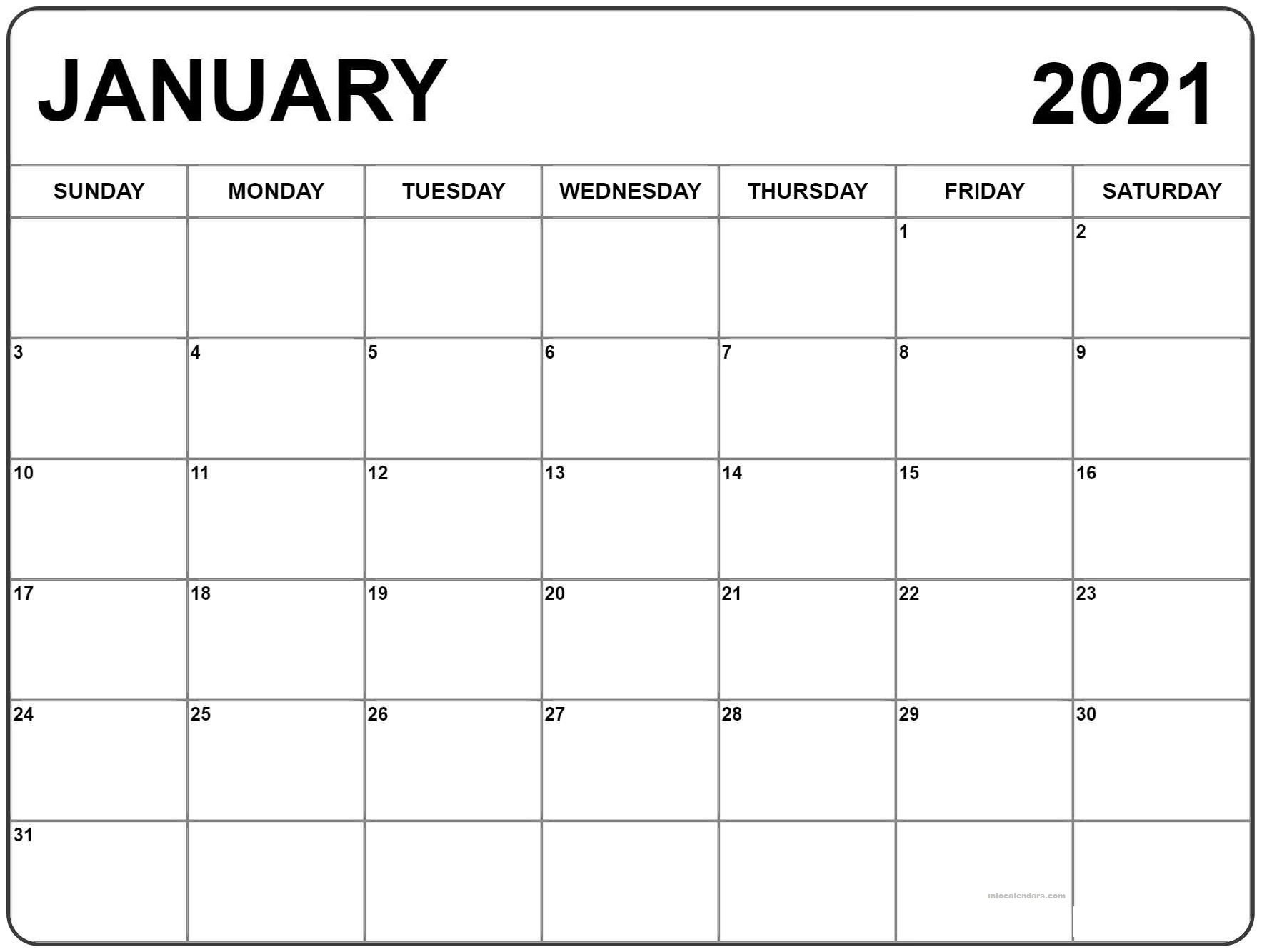 January 2021 Calendar Template Notes