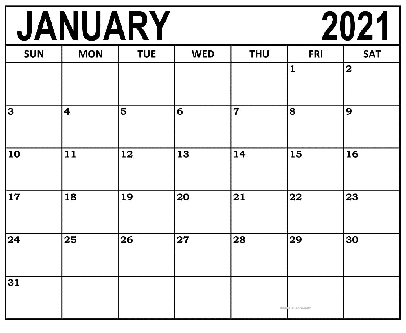 January 2021 Calendar Template Online