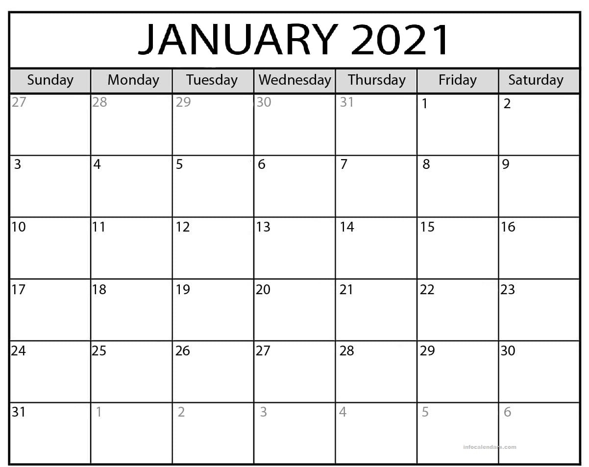 January 2021 Calendar With Holidays PDF