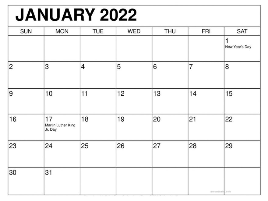 January 2022 Calendar with Holidays