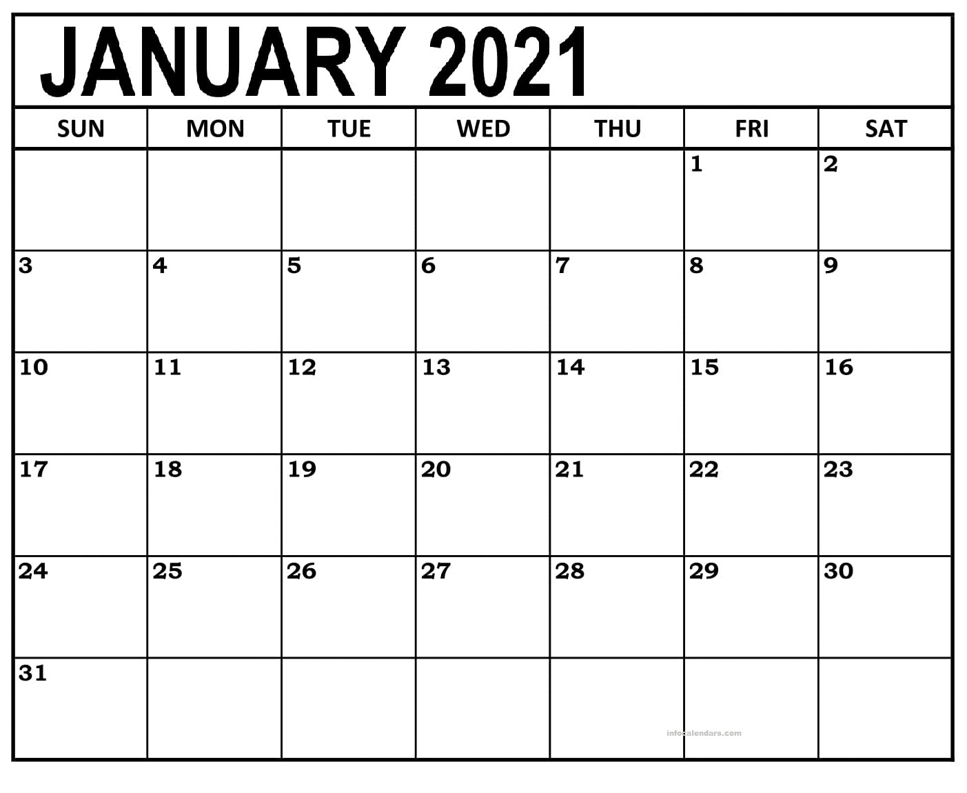 January 2021 Calendar With Holidays Sheet