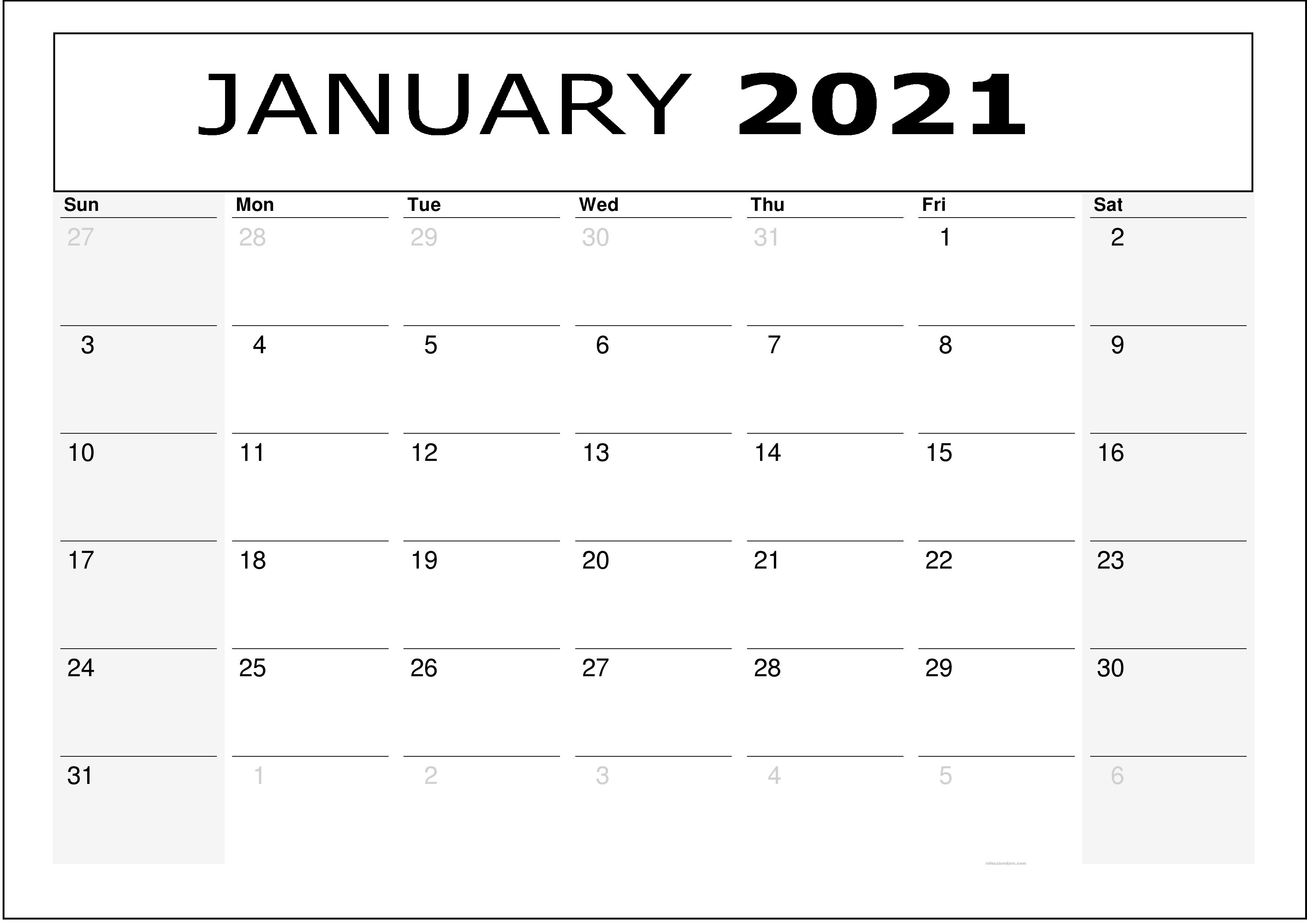 January Calendar 2021 Template Monthly