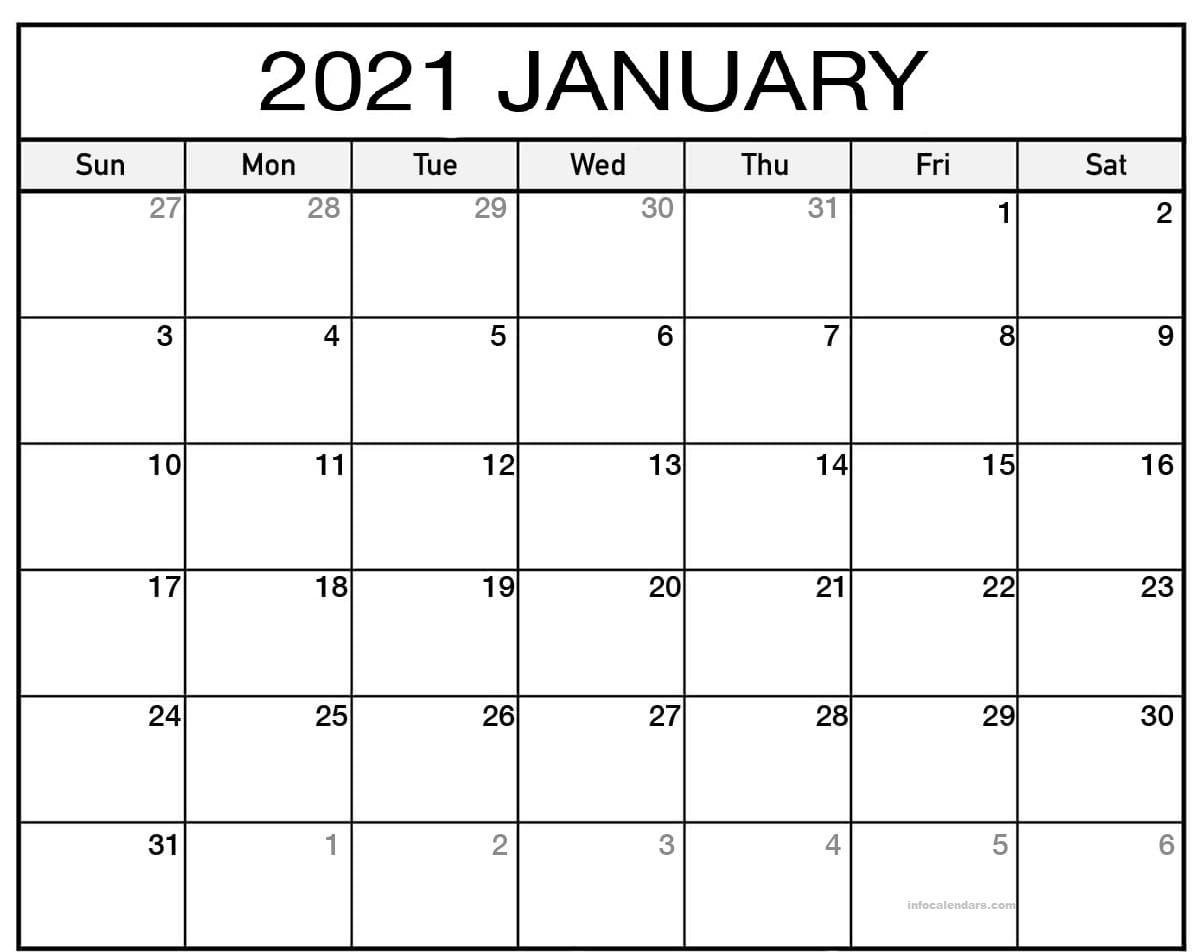 Monthly January 2021 Calendar With Holidays