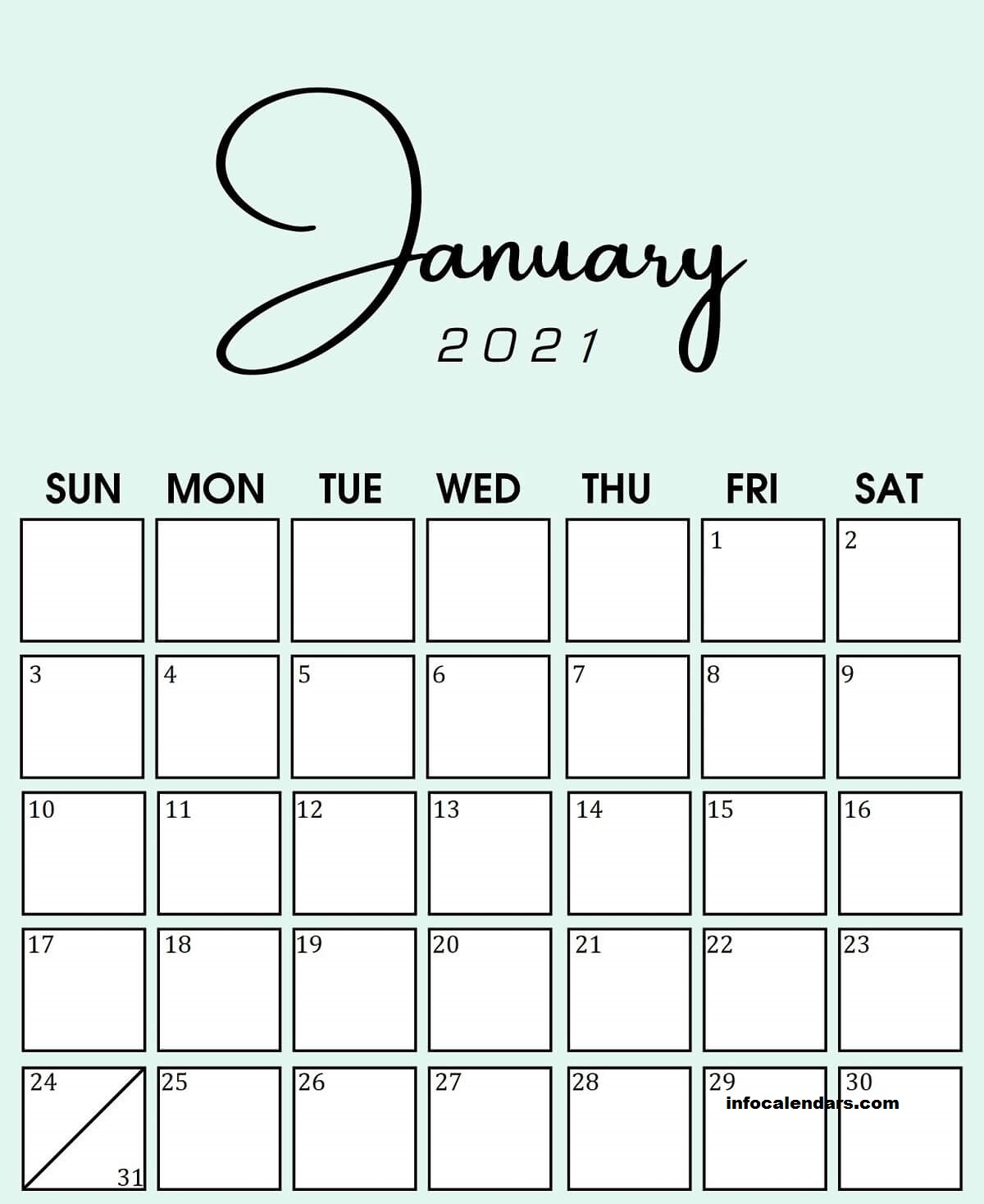 Printable January 2021 Calendar Colorful