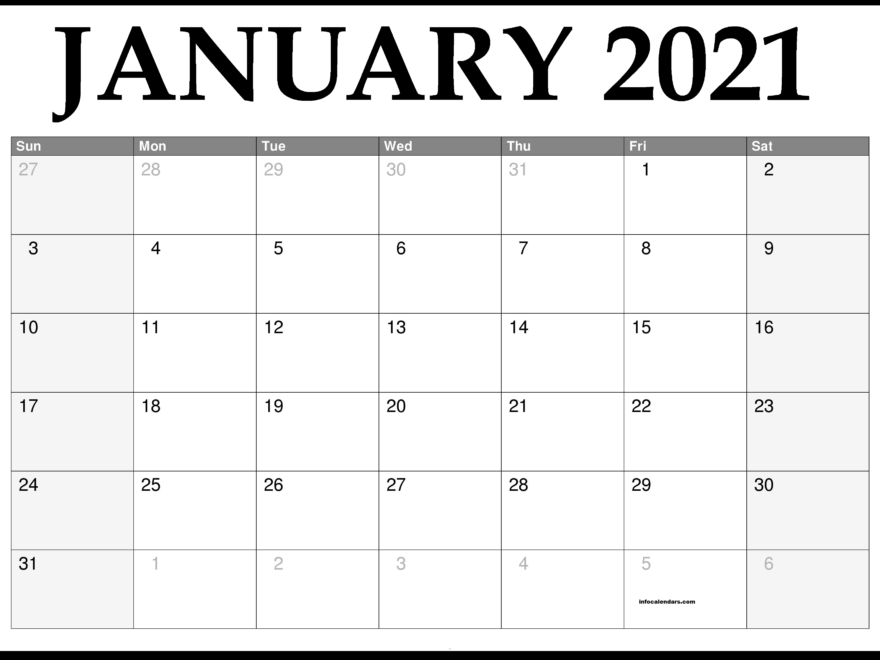 Printable January 2021 Calendar School