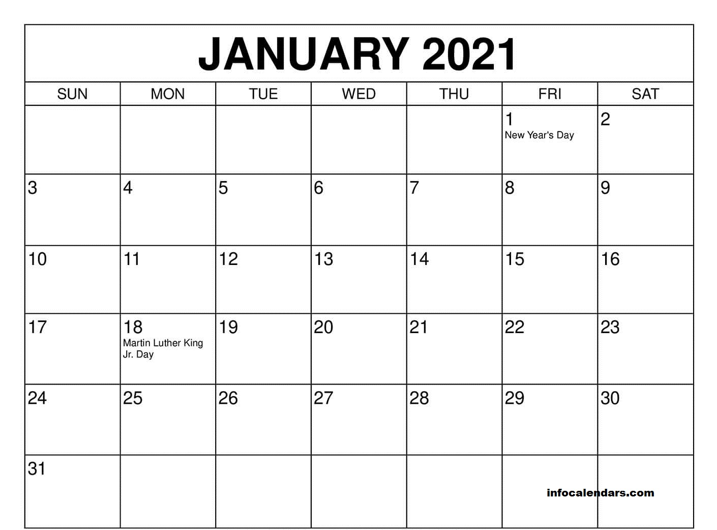 Printable January 2021 calendar Sheet