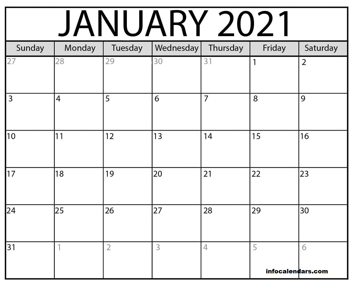 Printable January 2021 Calendar Template