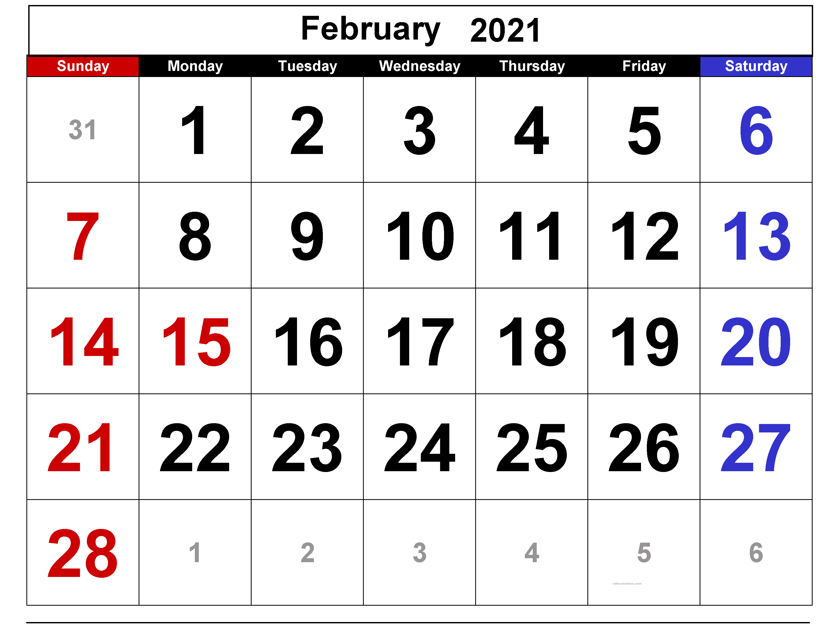 February 2021 Calendar Template Holidays