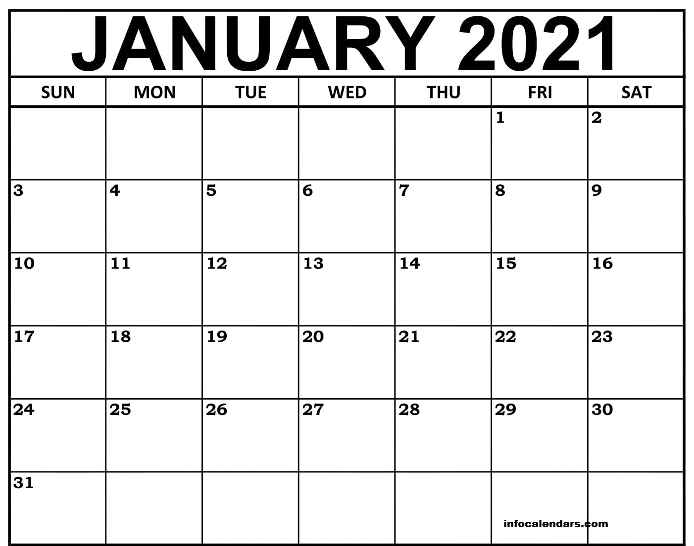 Free January 2021 Calendar PDF with Holidays