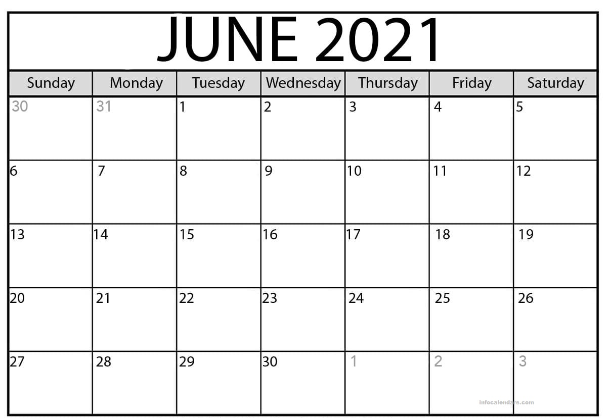 June 2021 Calendar Holidays