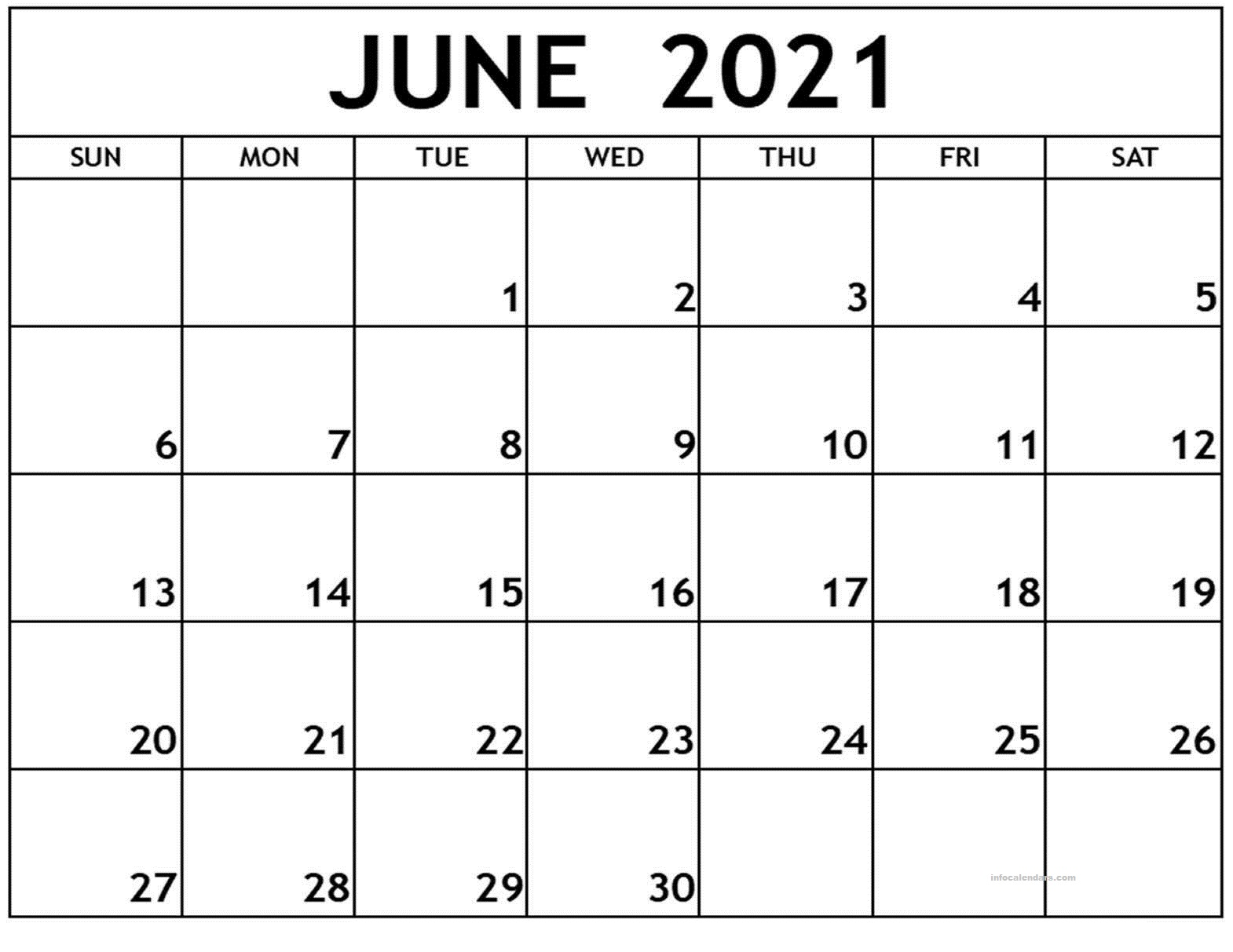 June 2021 Calendar Monthly