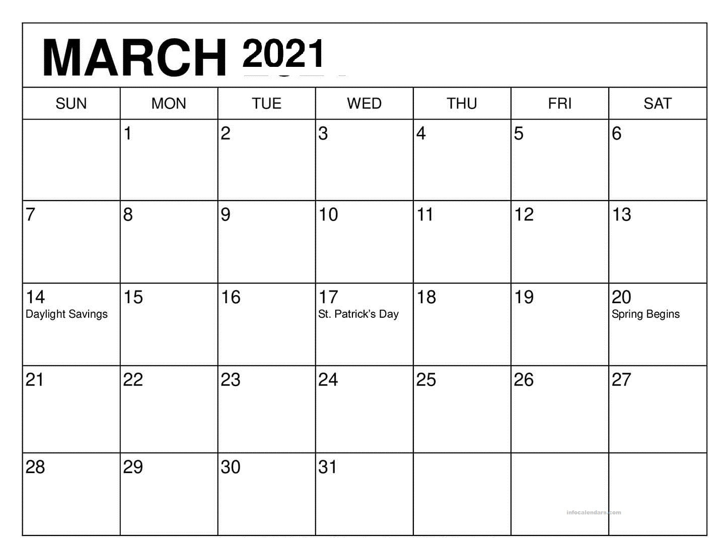 March 2021 Blank Calendar Download