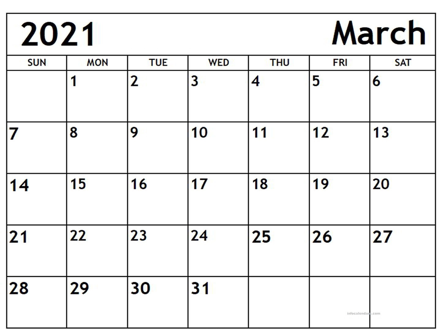 March 2021 Blank Calendar Scaled