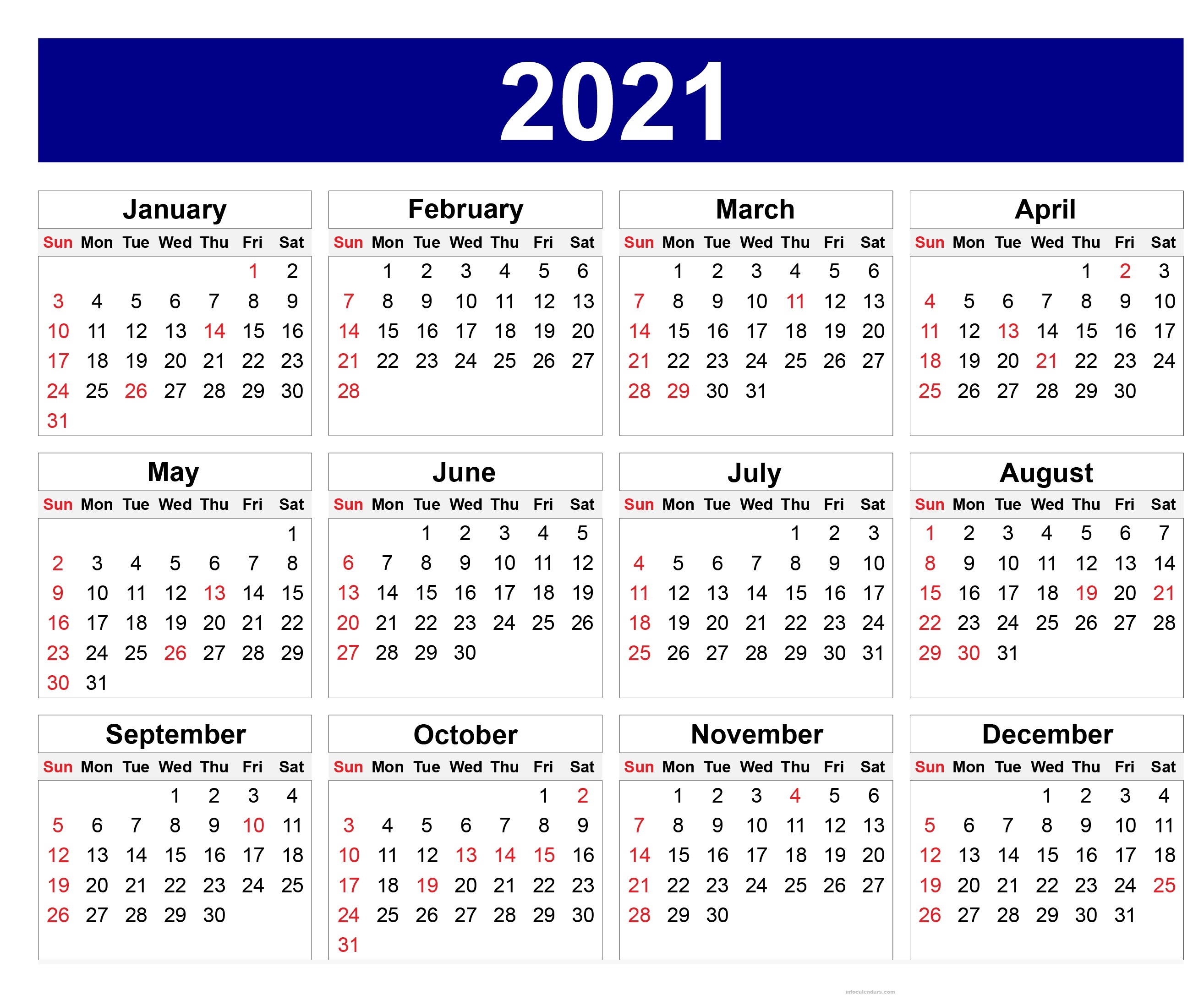 Printable 2021 Calendar Yearly