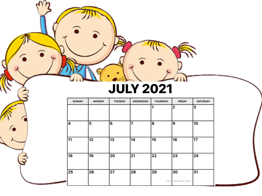 Cute July 2021 Calendar with Notes