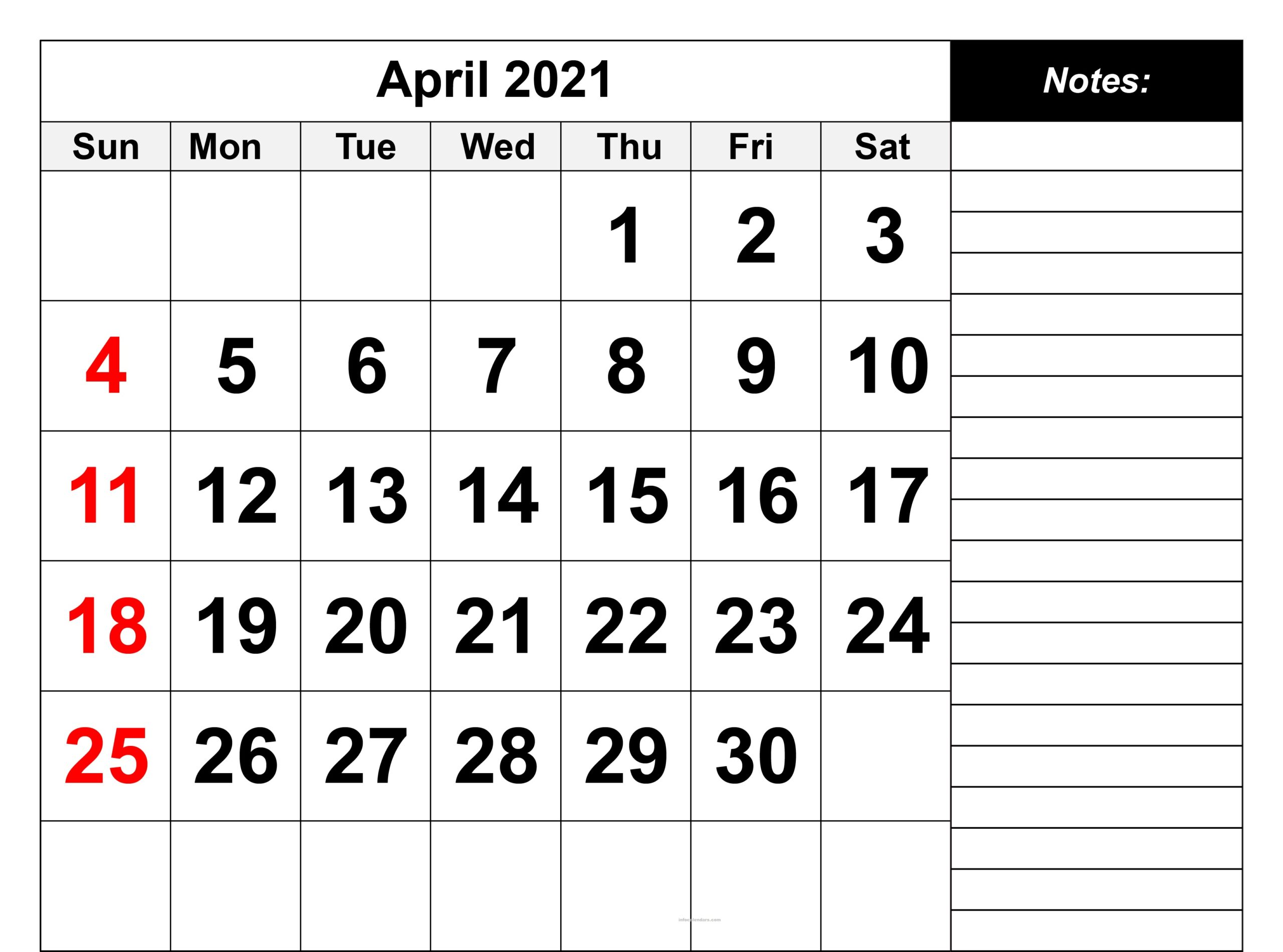 April 2021 Calendar Word Documents