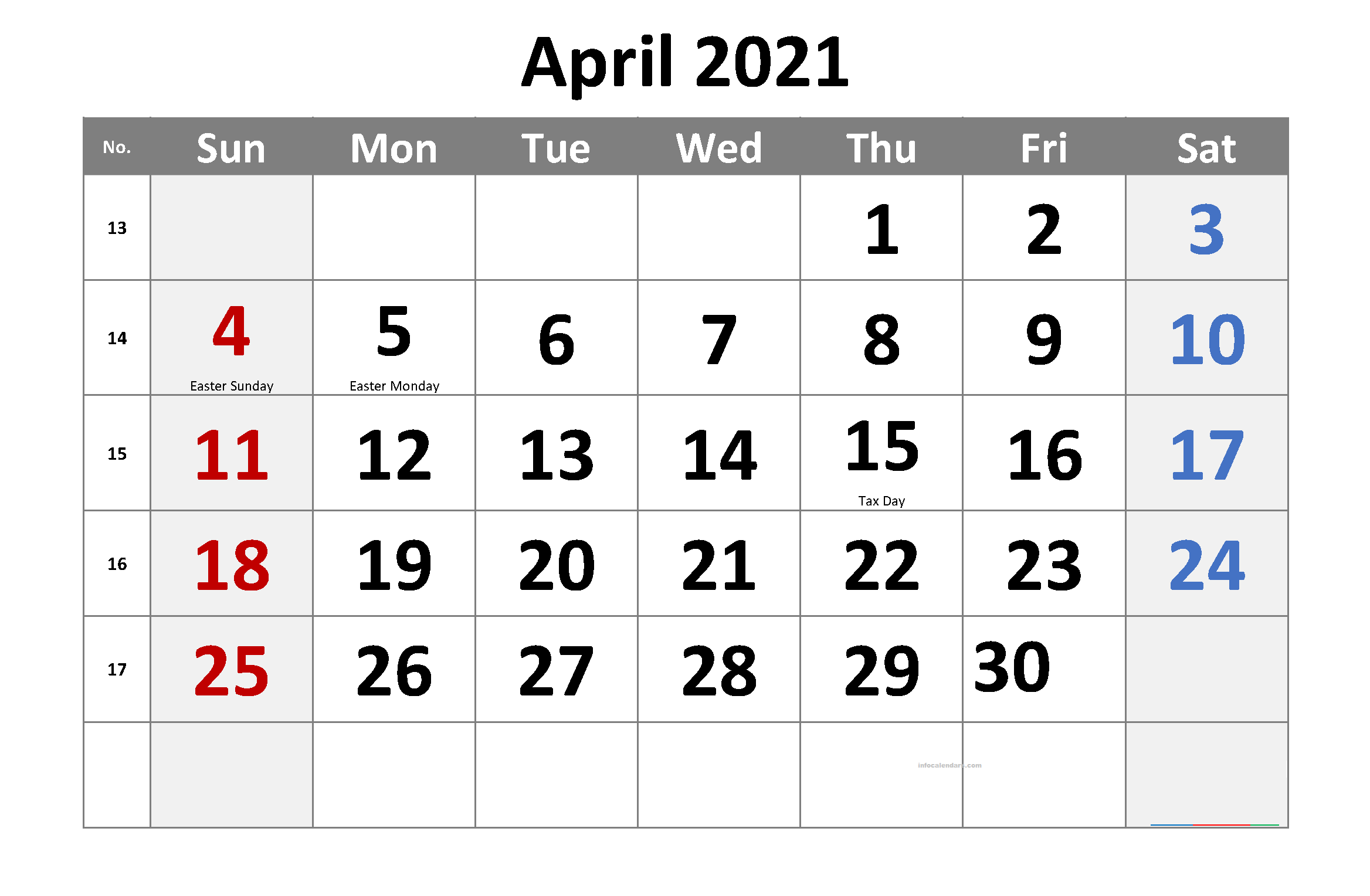 April 2021 Calendar Word List