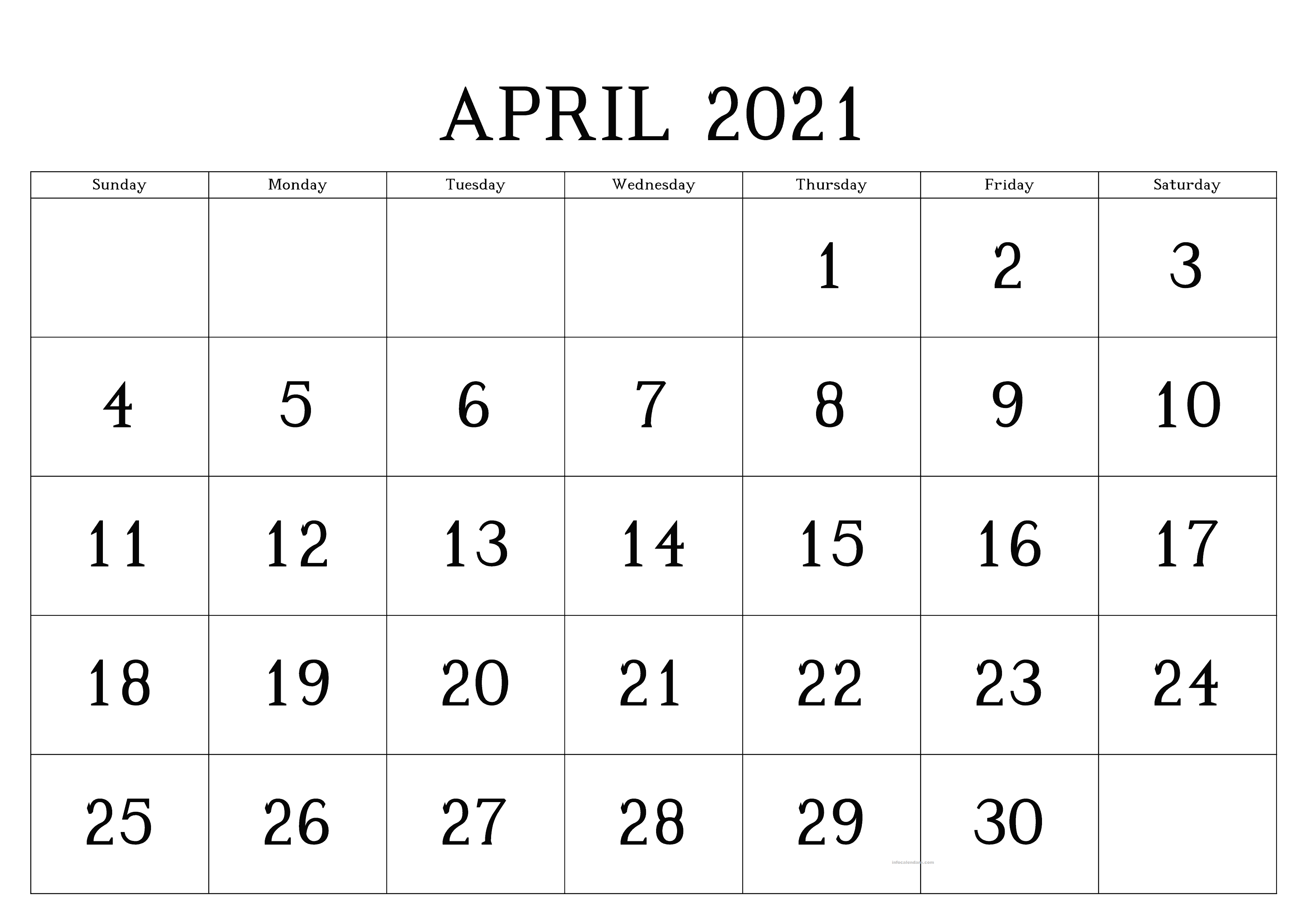 April 2021 Calendar Word Sheet