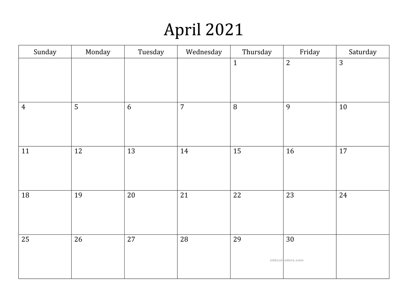 April 2021 Calendar Word Template