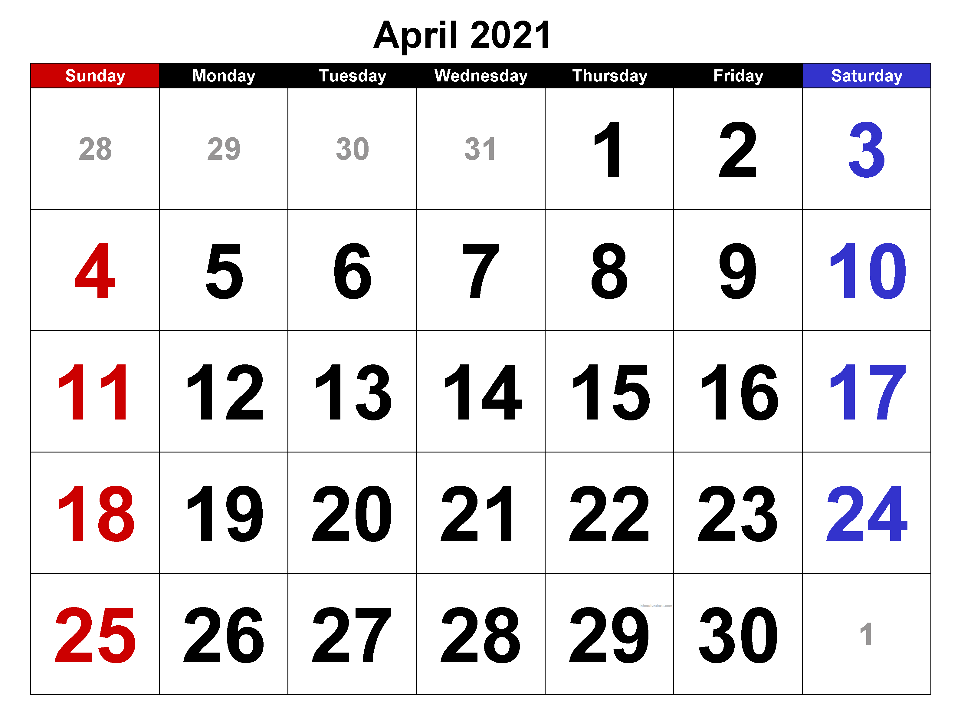 April 2021 Calendar Word with Holidays