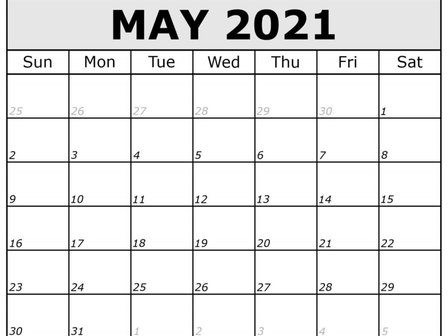 Blank May 2021 Calendar with Notes