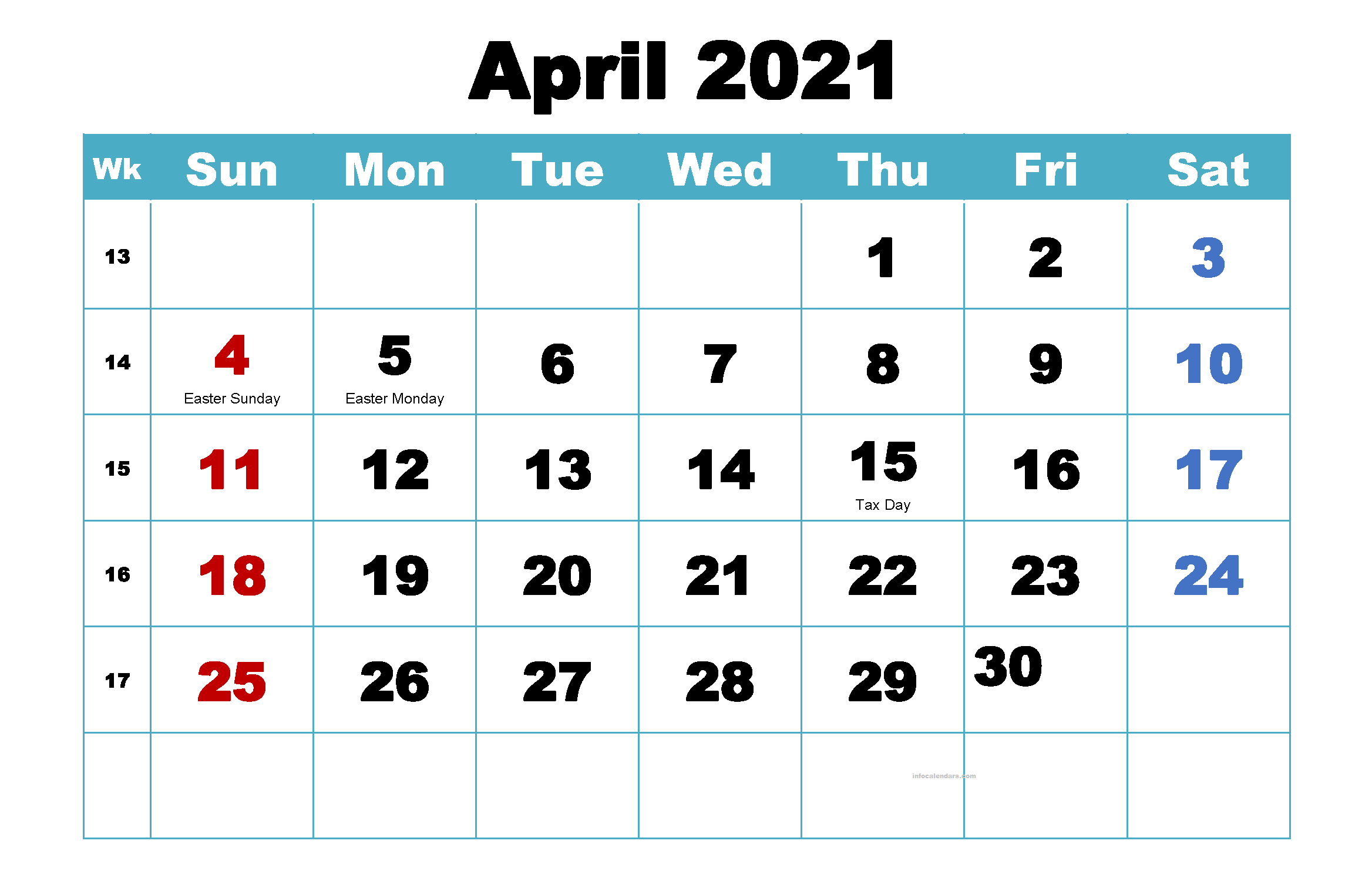 Cute April 2021 Calendar Word