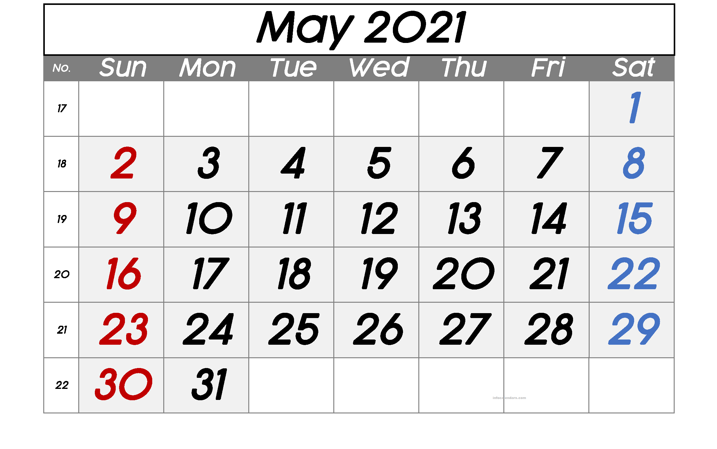 Cute May 2021 Calendar With Holidays