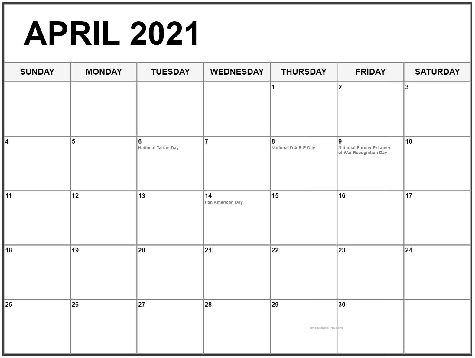 Daily April 2021 Calendar Weekly Template