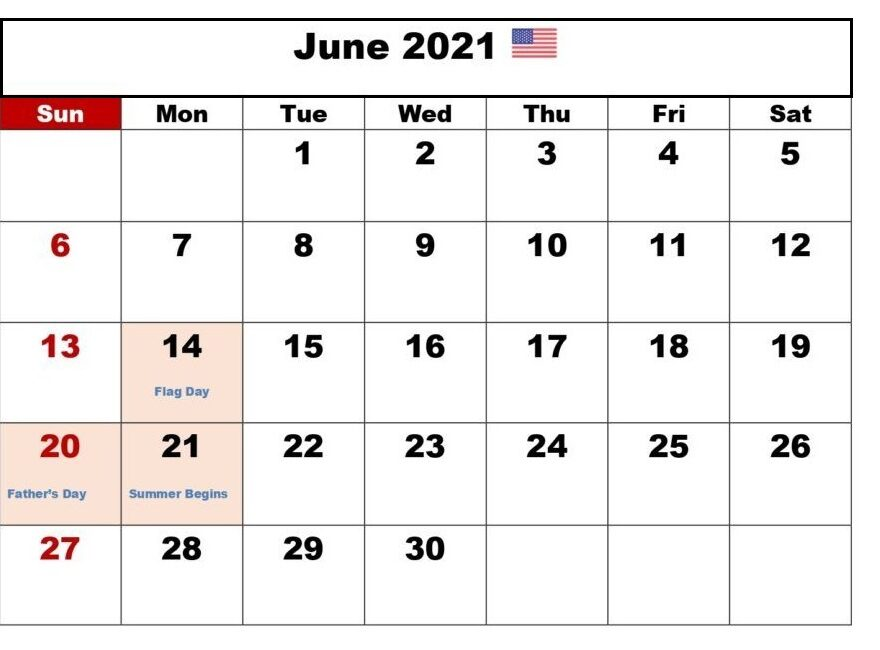Daily June 2021 Calendar Vacation