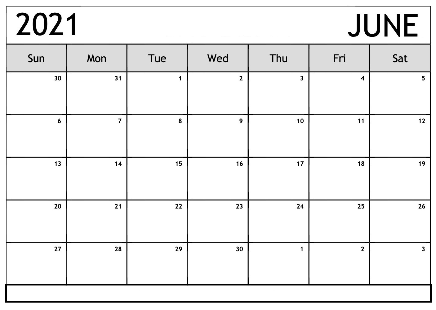 Daily June 2021 Calendar with Notes