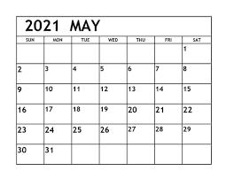 Daily May 2021 Calendar Blank Paper