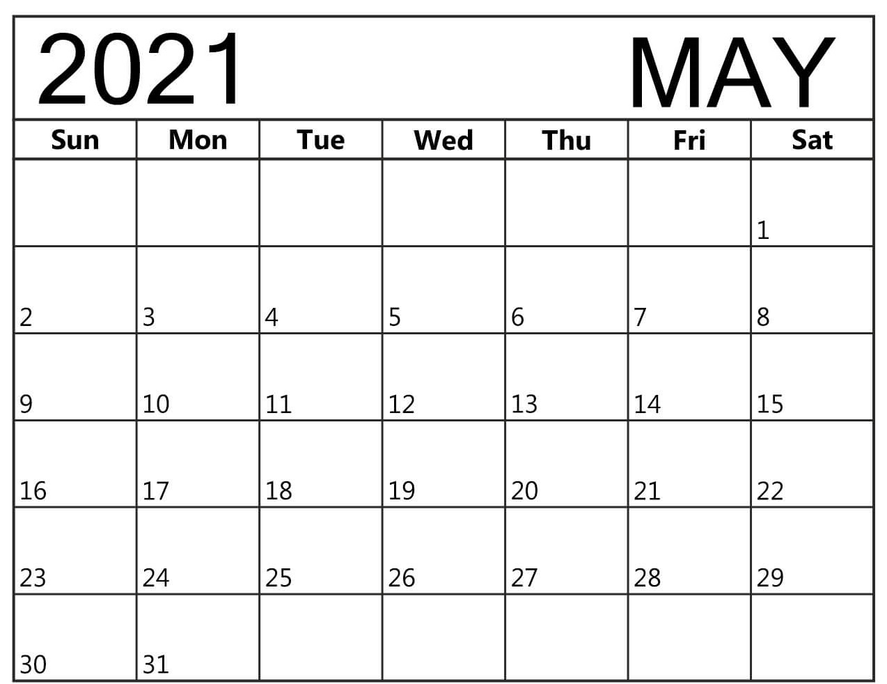 Daily May 2021 Calendar Excel