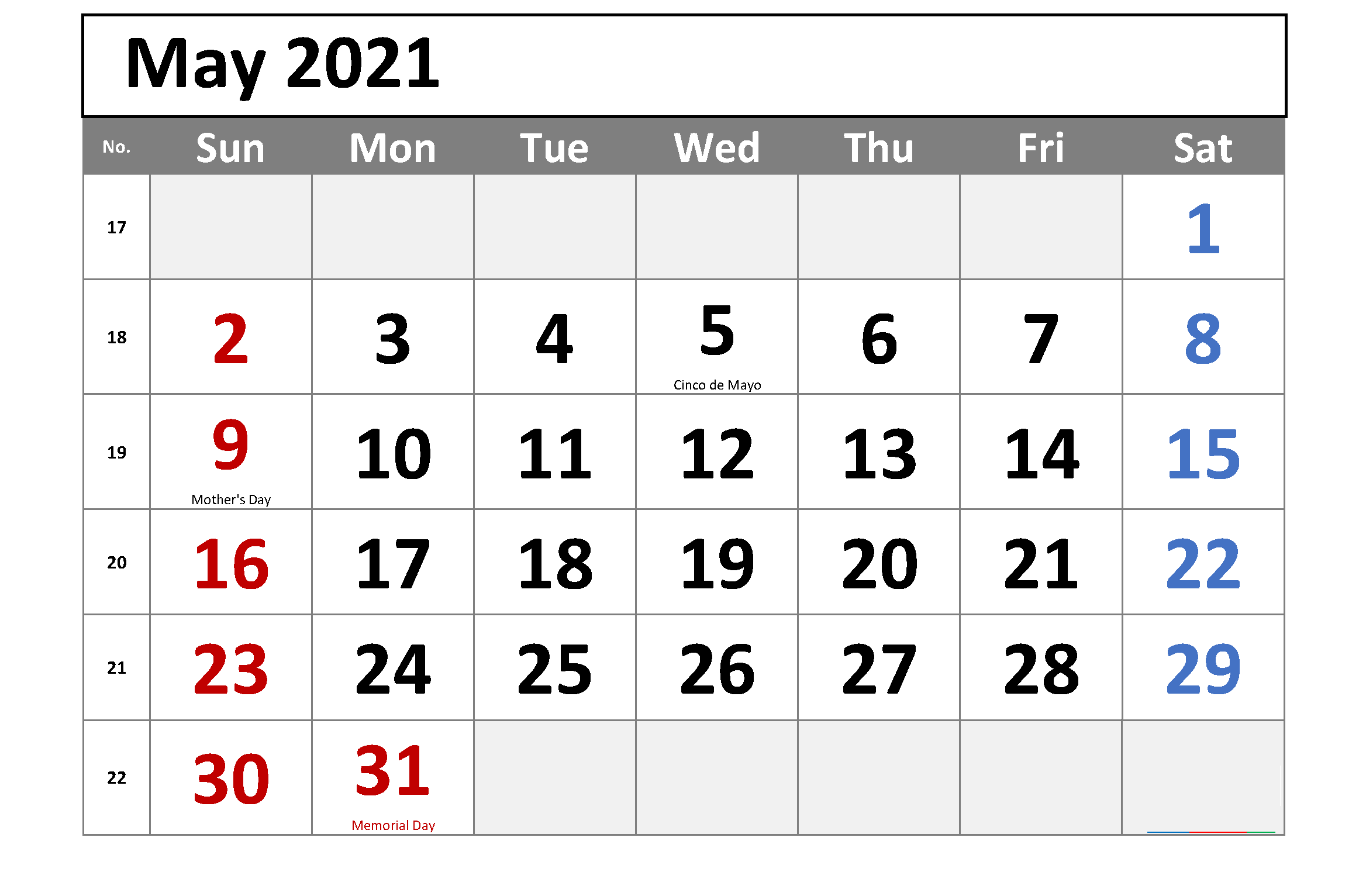 Daily May 2021 Calendar With Holidays
