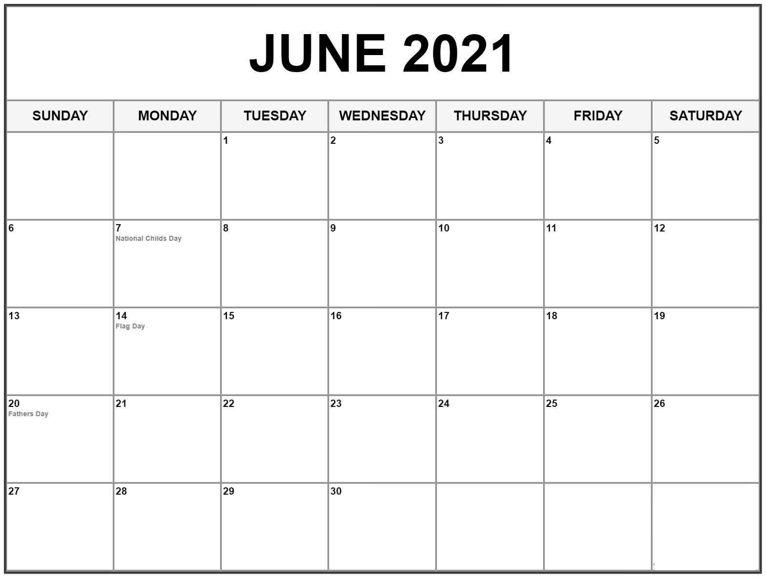Excel June 2021 Calendar With Holidays