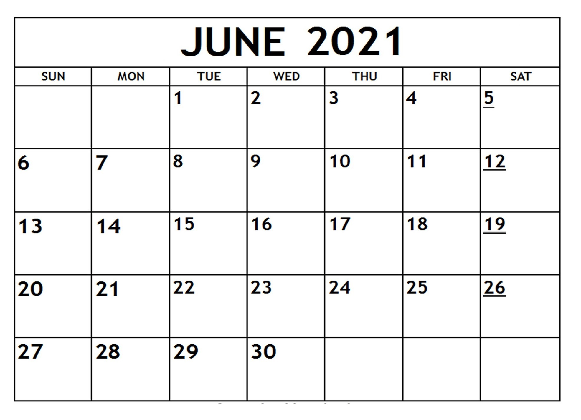 June 2021 Printable Calendar with Notes