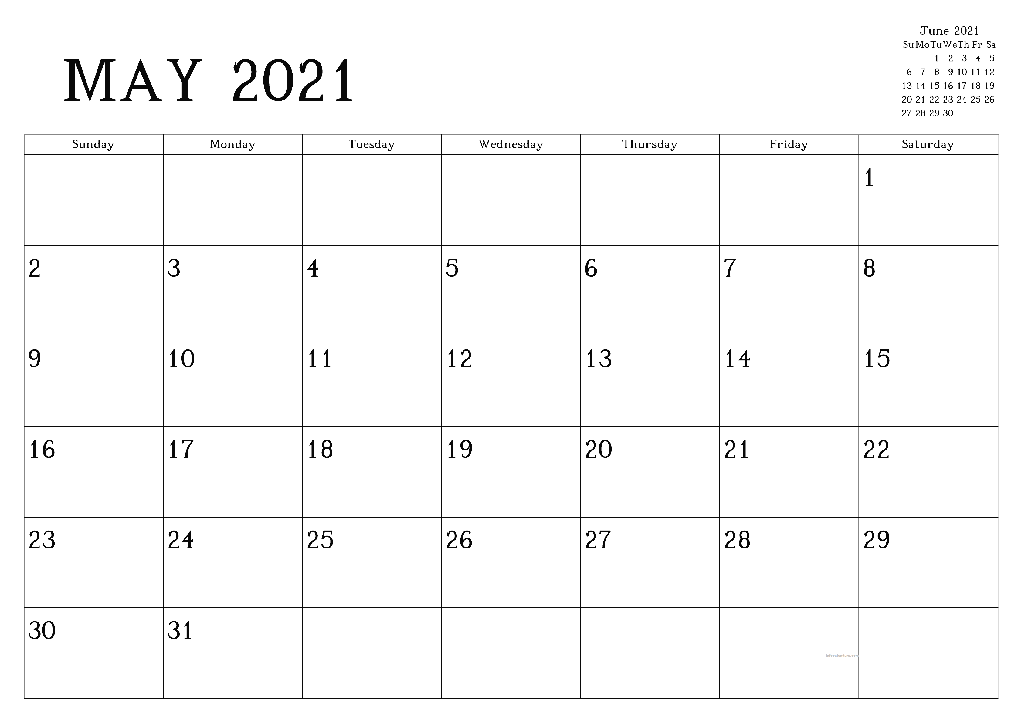 Large May 2021 Calendar Word